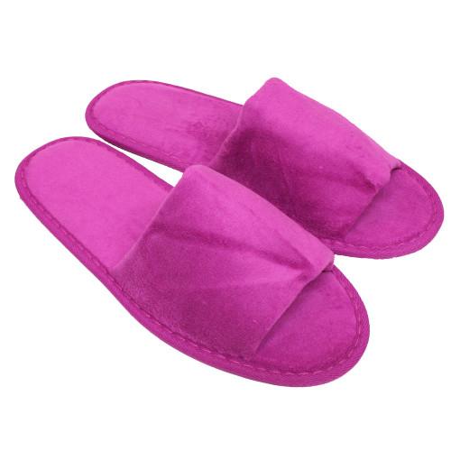 velour open toe slippers