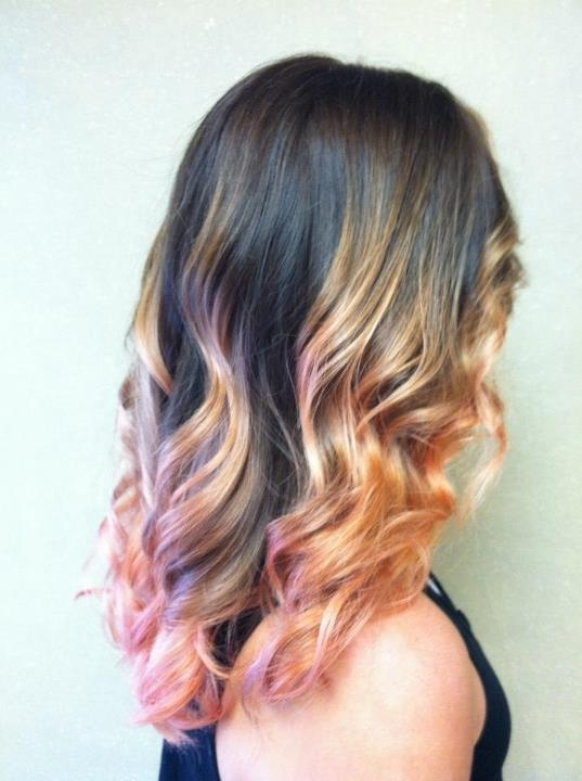 Golden Pink Ombre Hair